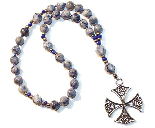 Anglican Rosary of Denim Colored Sodalite, Canterbury Cross