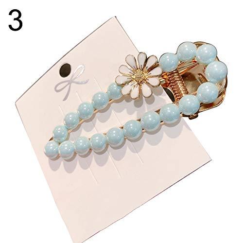 Flower Full Faux Pearl Inlaid Water Drop Shape Hairpin Sweet Women Hair Clip - Sky Blue