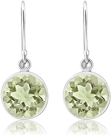 Sterling Silver Genuine Green Amethyst Women's Dangle Earrings (4.00 cttw, 9mm Round)