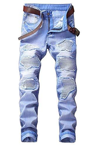 2018 Jeans Da Strappati Elasticizzati Uomo Denim Mode Di Marca Slim Fit Blau