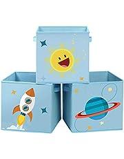 SONGMICS Förvaringslådor, set med 3, leksaksorganiserarlådor, hopfällbara förvaringskuber med två handtag, för barnrum, lekrum, sovrum, 30 x 30 x 30 cm, rymdtema