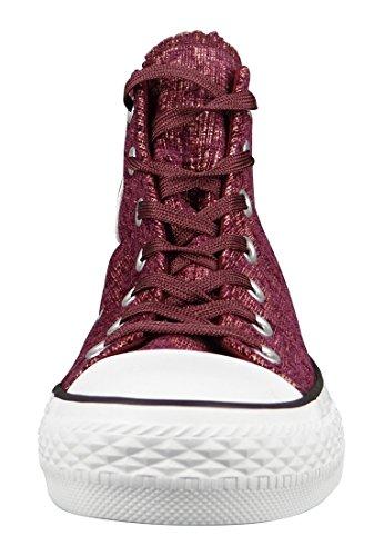 1U452 Converse CT HI gris sweat-shirt Sparkle Knit Pink Blush/Deep Bordeaux/White Weinrot
