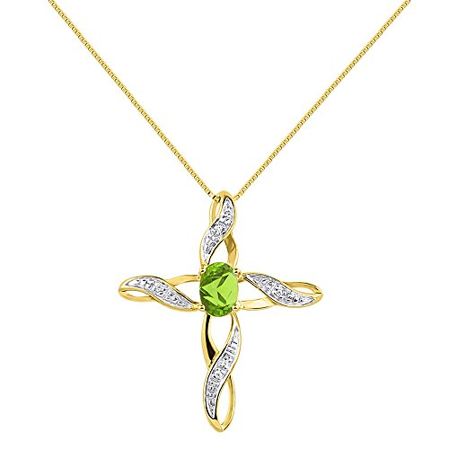Diamond & Peridot Cross Pendant Necklace Set In Yellow Gold Plated Silver .925