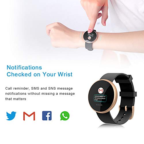 BOZLUN Smart Watch for Android Phones and iPhones, Waterproof Smartwatch Activity Fitness Tracker with Heart Rate Monitor Sleep Tracker Step Counter for Women (Gold)