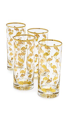 Gift Boutique Women's Set of 4 Flamingo Highball Glasses, Clear/Gold, One - Highball Glasses Four