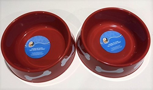 (2 Pack) Round Plastic Pet Bowls - 9 3/4 Inch (Red)