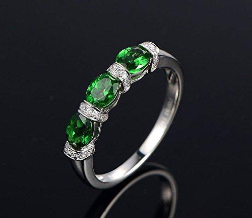 4x5mm Oval Tsavorite Diamond Wedding Band Anniversary Ring 14K White Gold