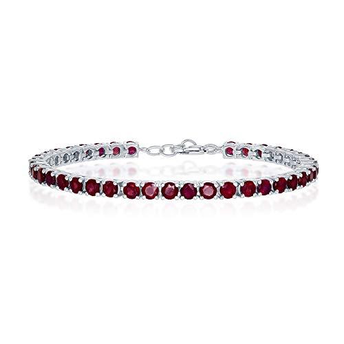 Silver Bracelet Belle Sterling (Sterling Silver Ruby Gemstone 4mm Tennis Bracelet (July Birthstone))