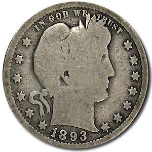1893 Barber Quarter Good/VG Quarter Good