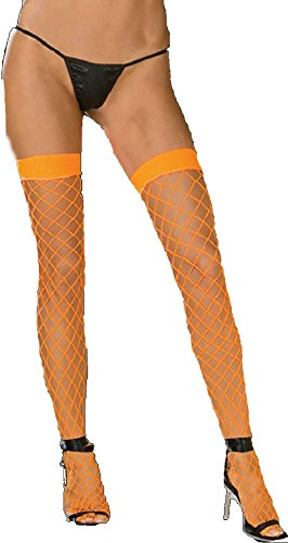 - Glows in Black Light Stay up Silicone Top Fence Net Thigh Highs (Neon Orange, One Size)