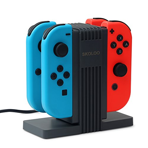 Skoloo NS Joy-Con Charging Dock, Quad Charging Station Charge Stand Built-in 4 Slide Orbits for Nintendo Switch Joy-Con Controllers (Station Charge Quad)