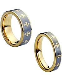 Wedding Band Ring Set For Him & Her - 8MM/6MM Tungsten Carbide Gold plated With Crosses & Contrast Brushed Center