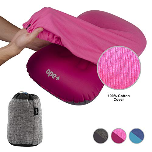 ope+ OpePlus Inflatable Camping Pillow Set – Camp, Travel, Backpacking Ultralight and Hiking Blow Up Pillow with Outdoor Soft Cotton Cover for Sleeping – Also Suitable as Lumbar Support