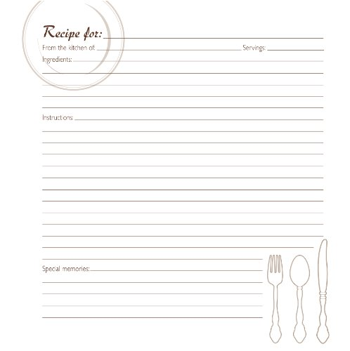 CR Gibson Family Recipe Memory Book Journal Page Refill, Pack (Recipe Book Refill)