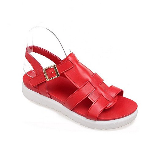 AllhqFashion Women's Open Toe Buckle Pu Solid Low Heels Sandals Red