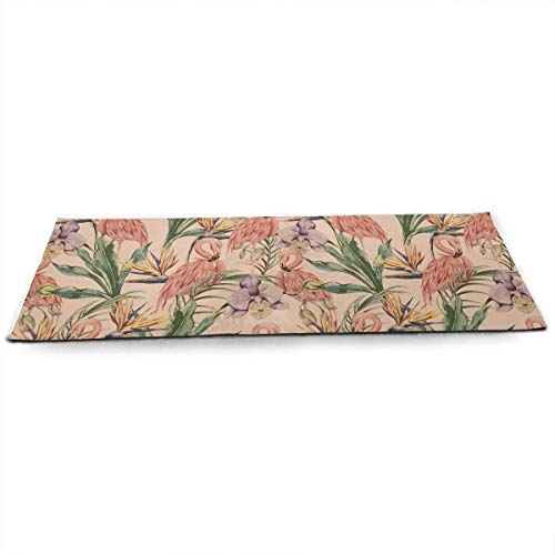 "Whages Exotic Botanical Wallpaper, Vintage Boho Style Customized Non-Slip Soft Advanced Printed Environmental Yoga Mat 31.5"""" × 51.2"