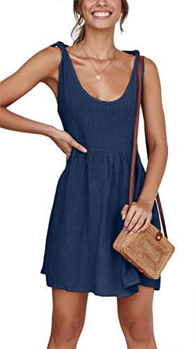Womens Summer Sleeveless Tie Strap Mini Dress Casual Plain A Line Sundress Navy XL