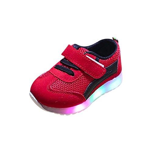 Baby Led Light Shoes for 0-6 Years Old,Infant Toddler Boys Girls Soft Luminous Outdoor Running Shoes Sneaker (1-2 Years Old, Red)