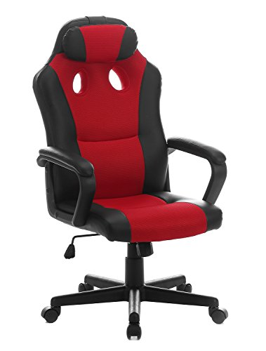 SEATZONE Smile Face Series Leather Gaming Chair, Racing Style Large Bucket Seat Computer Desk Chair, Executive Office Swivel Chair with Headrest, Red