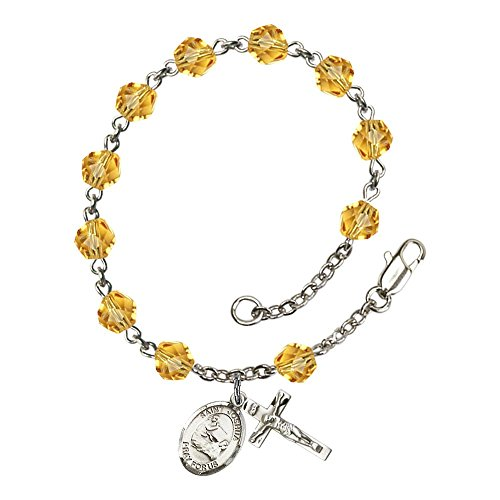 Silver Plate Rosary Bracelet 6mm November Yellow Fire Polished Beads, Crucifix Size 5/8 x 1/4, St. Joshua medal charm