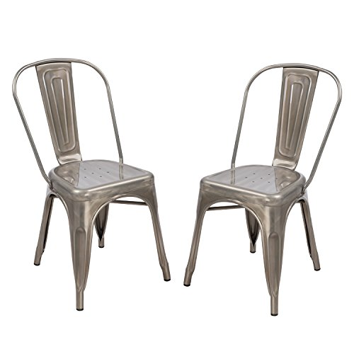 Adeco Metal Stackable Industrial Chic Dining Bistro Cafe Side Chairs, Silver Gun Metal (Set of 2)
