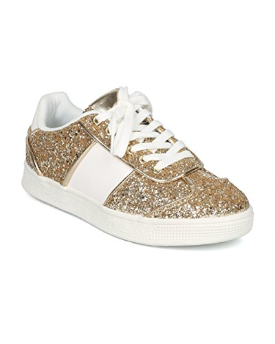 Alrisco Vrouwen Glitter Ingelegde Veter Lage Sneaker - Hg95 Door Fahrenheit Collection Gouden Mix Media