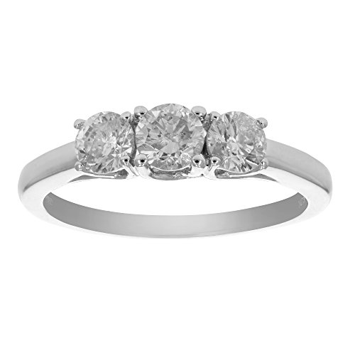 1 CT AGS Certified I1-I2 3 Stone Prong Set Diamond Ring 14K White Gold In Size 6