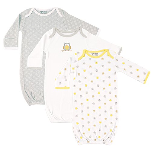 Luvable Friends Unisex Baby Cotton Gowns, Yellow Owl 3-Pack One Size ()
