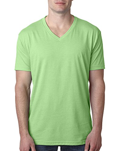 Next Level Men's CVC Combed Baby Rib-Knit V-Neck T-Shirt, Apple Green, Small