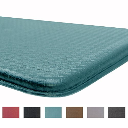 Rochelle Collection Premium Anti-Fatigue Comfort Mat. Multi-Purpose Decorative Non-Slip Standing Mat for the Kitchen, Bathroom, Laundry Room or Office. By Home Fashion Designs Brand. (Mineral Blue)