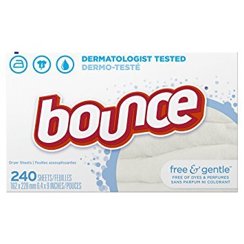 Bounce Fabric Softener Sheets, Free & Gentle, 240 Count - Pack of 5 by Bounce e