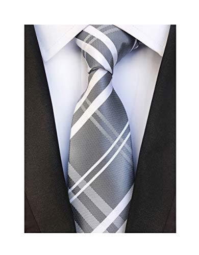 Men Stripe Grey and White Jacquard Silk Tie Formal Necktie For Big Boy Youth Son