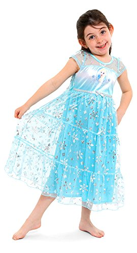 Disney Little Girls' Fantasy Nightgowns, Frozen Elsa Snowy Cerulean, 4 -