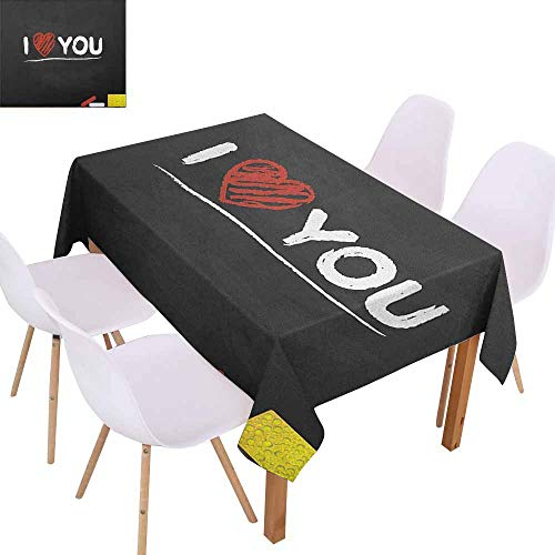 Rectangular Tablecloth I Love You Cartoon Illustration of a Blackboard with Charcoal Written Wording and Heart Table Decoration W52 xL72 Multicolor]()