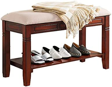 収納ベンチ 本革とソリッドウッドストレージ靴ベンチ玄関ヴィンテージスタイルの靴ラックをアクセント 柔軟 多用途 (Color : As picture, Size : 80x35.5x50cm)