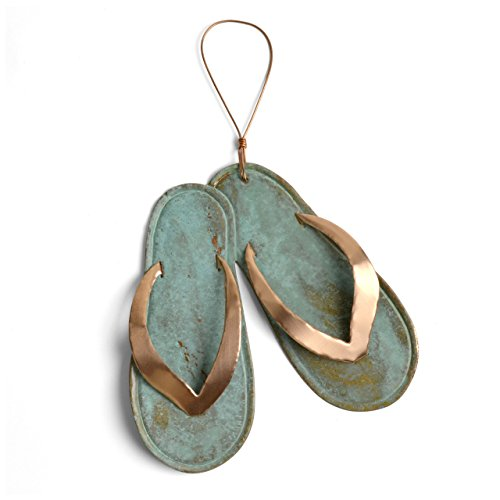 Dos Damas Designs Flip Flops Copper Ornament