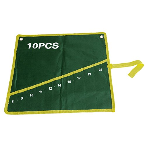 Price comparison product image Delight eShop 1pcs Canvas Wrench Roll Up, Optional 10 Pocket Grids, Storage Bag, Green