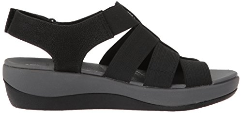 CLARKS Womens Arla Shaylie Platform, Black Elastic Fabric, 6.5 Wide US
