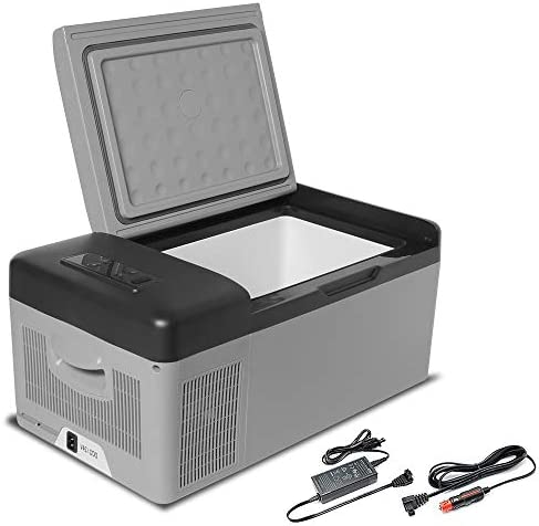 Outdoors or Camping Rugged Portable Refrigerator Cooler Freezer for Vehicle Boat 42L w//Battery Fishing RV Trucker AC//DC for Travel
