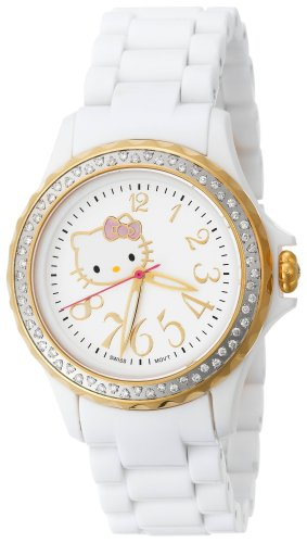 Hello Kitty Women's QWL1632DIANFGDWT Kimora Lee Simmons Diamond Bezel White Ceramic Watch