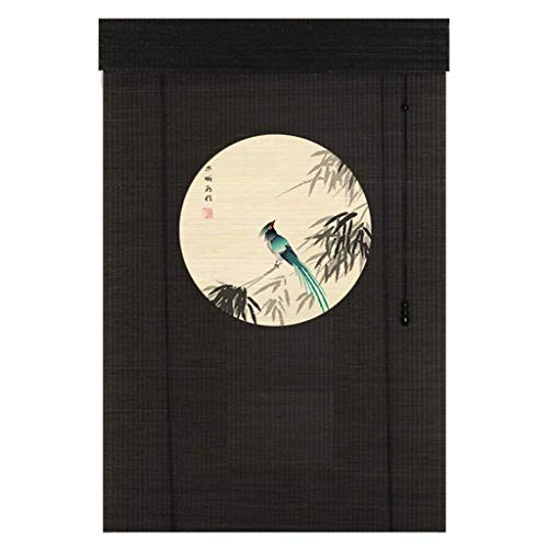 ZAQ Black Patterned Roller Shades with Fittings, Bamboo Blackout Sun Shade for Bedroom Kithchen Window Door, 80/100/120/140 cm Width (Size : 80×190cm) (Patterned Roller Shades)