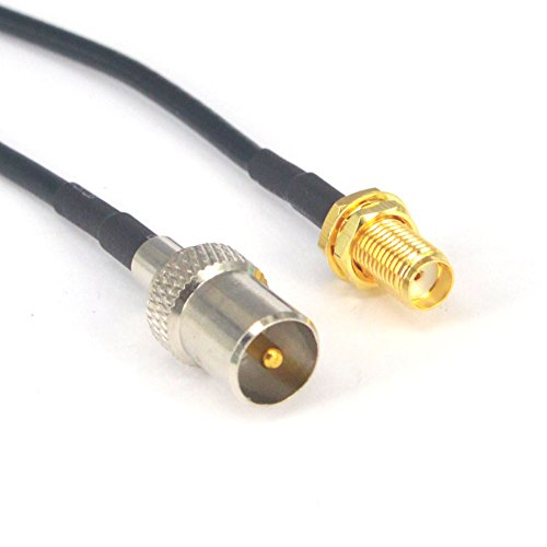 RF Coaxial Coax Cable Assembly IEC DVB-T TV PAL Male to SMA Female Connector Adapter Extension 6'' ()