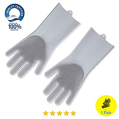 Tomiya Silicone Cleaning Sponge Gloves, Gloves with Scrubber, Multi- Functional Gloves: Reusable, Heat Resistant, Non-Slip, Dish Washing,Car Washing, Household Cleaning,Pet Hair Care,etc