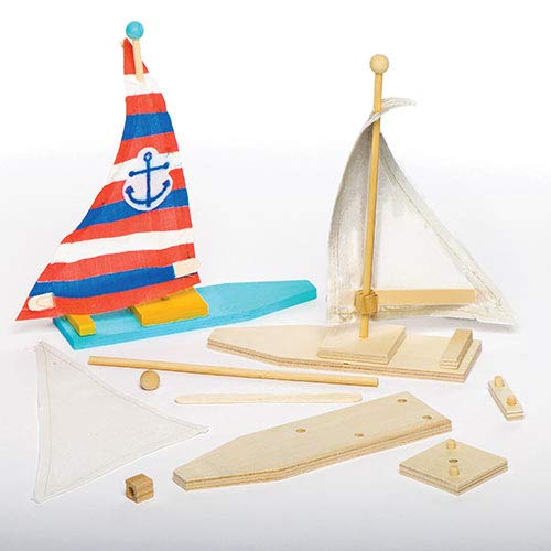 Baker Ross Make Your Own Wooden Sailboat - Craft Kits for Children to Make Paint & Decorate (Pack of 2)