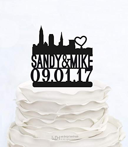 Wedding Cake Topper CLEVELAND SKYLINE_Topper with Names and Date_City Topper Bridal Shower_Cake Topper Bachelorette Party -