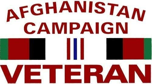MFX Design Afghanistan Campaign Veteran with Ribbon Bumper Sticker Decal with Clear Background Vinyl - Made in USA 5 in. x 3 - Afghanistan Veteran Sticker