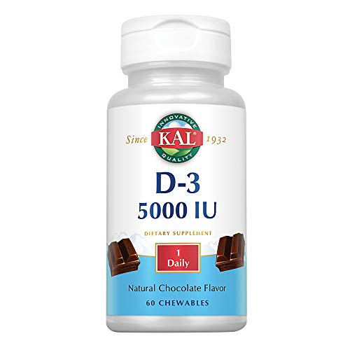 Vitamins Chewable Kal (KAL 5000 Iu Ultra D-3 Tablets, Chocolate, 60 Count)