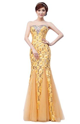 Ikerenwedding - Vestido - Sin mangas - para mujer dorado