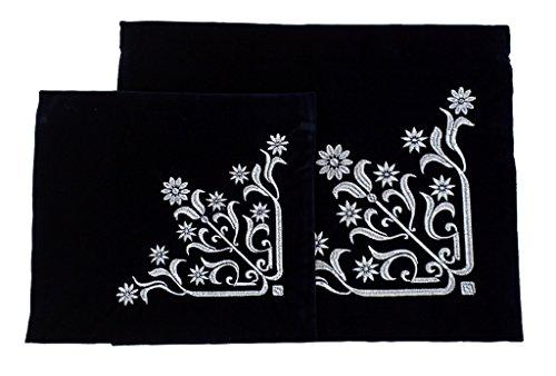 - Embroidered Black Velvet Tallit and Tefilin 2 Bag Set Silver Daisies