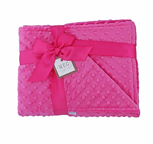 MEG Original Hot Pink Minky Dot Baby Girl/Toddler Crib Blanket 643